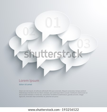 Abstract composition with paper speak bubbles. Vector illustration. - stock vector