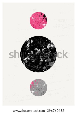 Abstract composition with textured geometric shapes in black, gray and pink. Minimalist and modern poster, brochure, card design. - stock vector