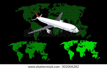 Abstract computer graphic world map and airplane. - stock vector
