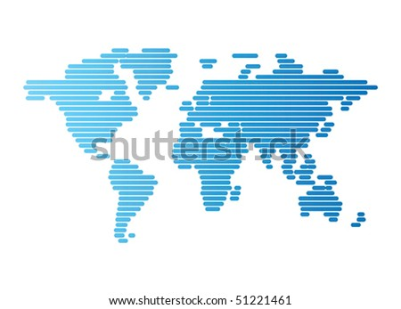 Abstract computer graphic World map of blue rounded lines. Vector illustration.