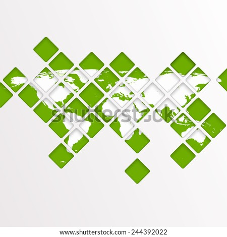Abstract computer graphic World map of green mosaic. - stock vector