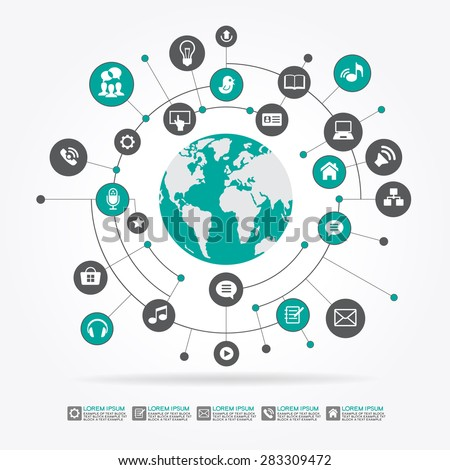 Abstract computer network with integrated circles and icons for digital,  network, internet, connect, social media, communicate. File is saved in AI10 EPS version.  - stock vector