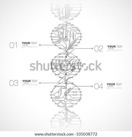 Abstract computer tech dna design infographics vector stock eps 10 illustration - stock vector