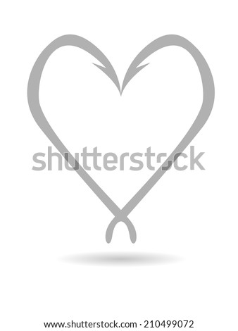 Abstract concept in the form of the heart of fishing hooks with shadow - stock vector
