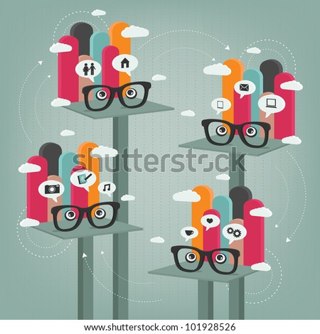 abstract concept of communication between people - stock vector