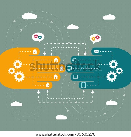 abstract concept of connection and communication - stock vector