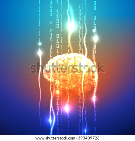 Abstract concept of human brain activity - stock vector