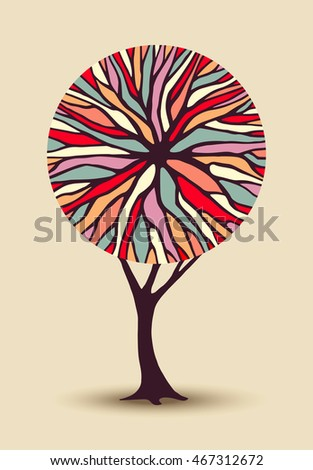 Abstract concept tree illustration with colorful geometric shape branches ideal for creative environment awareness project or diversity design. EPS10 vector.