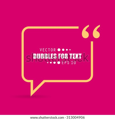 Abstract concept vector empty speech square quote text bubble. For web and mobile app isolated on background, illustration template design, creative presentation, business infographic social media. - stock vector