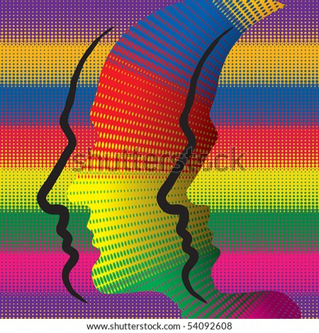 Abstract conceptual illustration with colorful human profiles. - stock vector