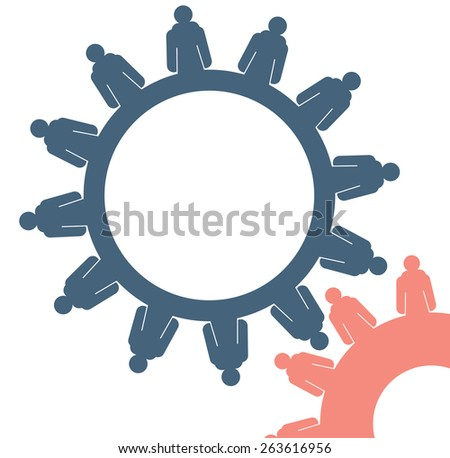 Abstract conceptual image of business gears cogwheel connection teamwork creative template with space as background