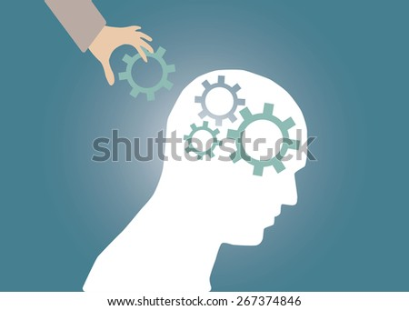 Abstract conceptual image of business human brain and hand put gears cogwheel idea connection teamwork for creative template with space as background - stock vector