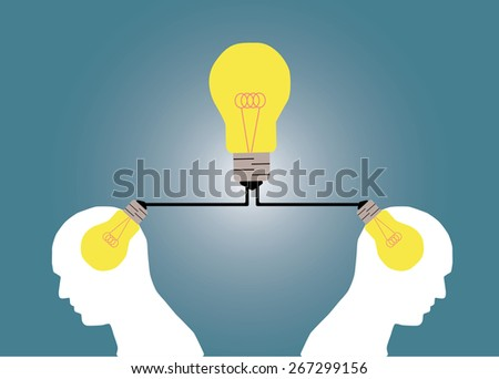Abstract conceptual image of business human brain share big idea together with creative template with space as background - stock vector