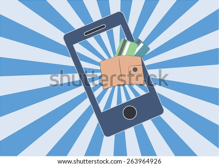 Abstract conceptual image of business mobile payment via smartphone, Near Field Communication (NFC), showing wallet and credit card on screen, online banking as background - stock vector