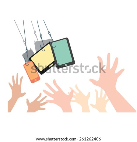 Abstract conceptual image of business technology victim, many hands catching and follow trends of mobile, tablet devices, can use as background - stock vector