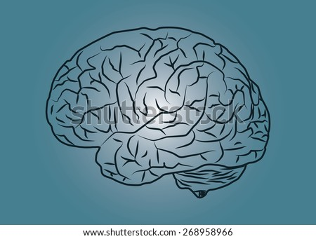 Abstract conceptual image of human brain drawing a side view with space as background in vector - stock vector