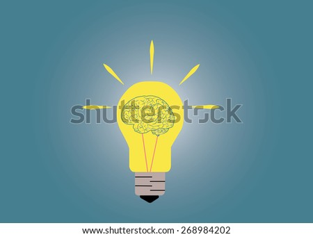 Abstract conceptual image of light bulb and human brain inside with creative template space as background - stock vector