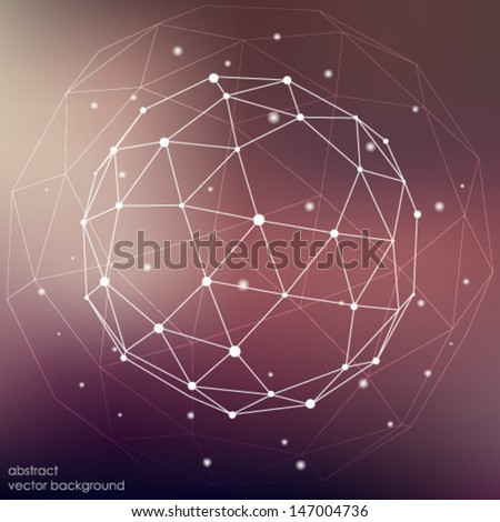 abstract connection points and lines on a colored background - stock vector