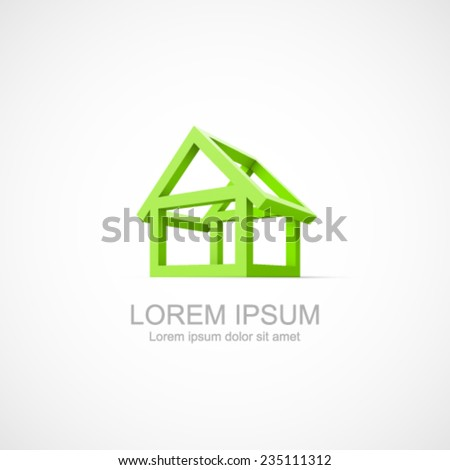 Abstract construction of house. Easy to change color. - stock vector