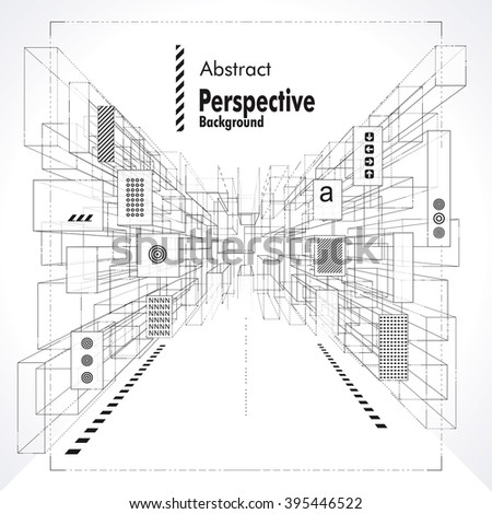 Abstract construction perspective background suitable for interior, architecture and designing. - stock vector