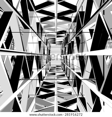 Abstract Construction Structure Exit Vector 327. Light At The End Of Black White and Gray Tunnel Structure Exit. - stock vector