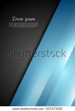 Abstract contrast black and blue background. Vector design - stock vector