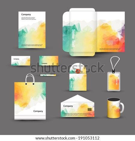 Abstract Corporate identity template. Vector company style for brandbook and guideline - stock vector