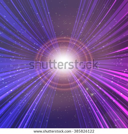 Abstract cosmic purple star digital background, sun with lens flare. Vector illustration EPS10. - stock vector