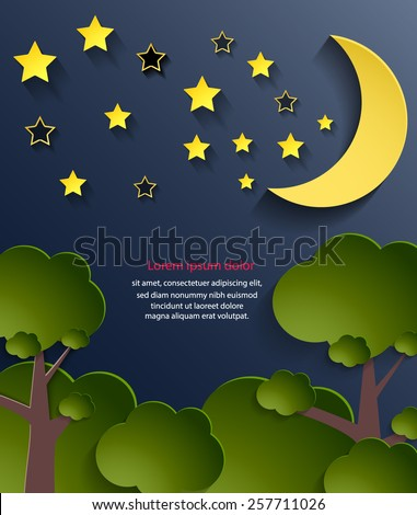 Abstract cover design for kids book, night background. Vector eps10. - stock vector