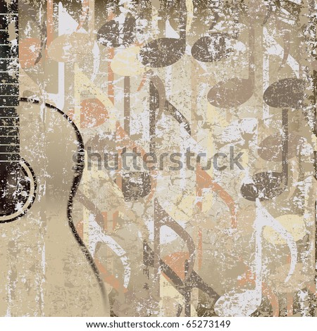 abstract cracked background acoustic guitar - stock vector