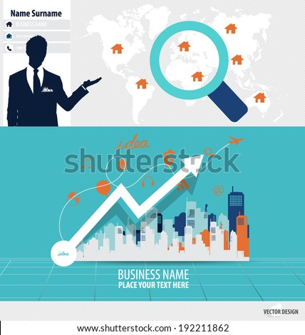 Abstract creative business card template and infographics paper template, vector illustration. - stock vector