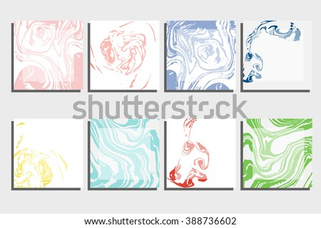 Abstract creative card templates. Weddings, menu, invitations, birthday, business cards with marble texture in trendy colors - stock vector