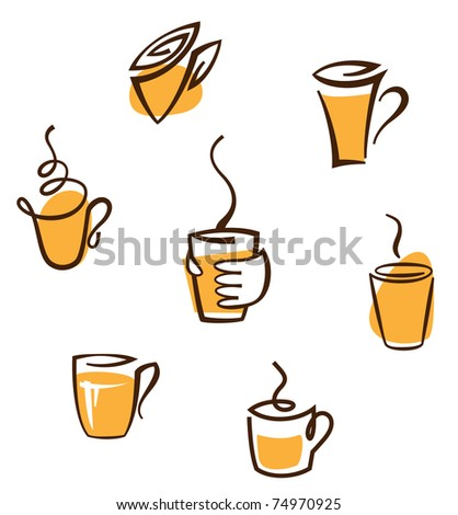 abstract creative coffee cup signs - stock vector