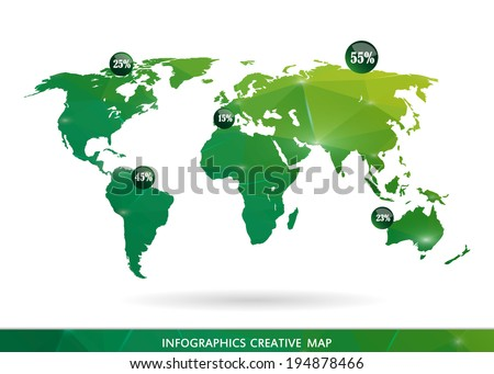 Abstract creative concept modern map of the world for Web and Mobile Applications, vector illustration, creative template design, Business software and social media icon. Isolated on white background.