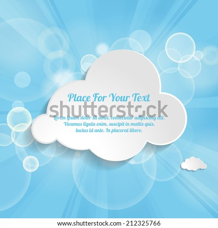 Abstract Creative concept vector cloud on a blue festive background with light beams - stock vector