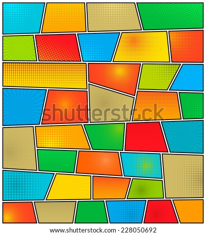 Abstract Creative concept vector comics pop art style blank layout template with clouds beams and isolated dots pattern on background. For Web and Mobile Applications, illustration template design. - stock vector