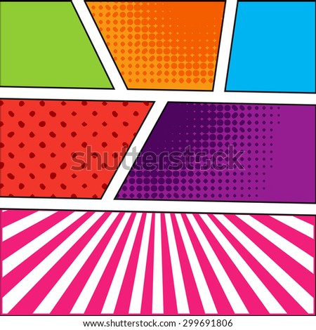 Abstract Creative concept vector comics pop art style blank layout template with clouds beams and isolated dots pattern on background. For your next illustration template design. - stock vector