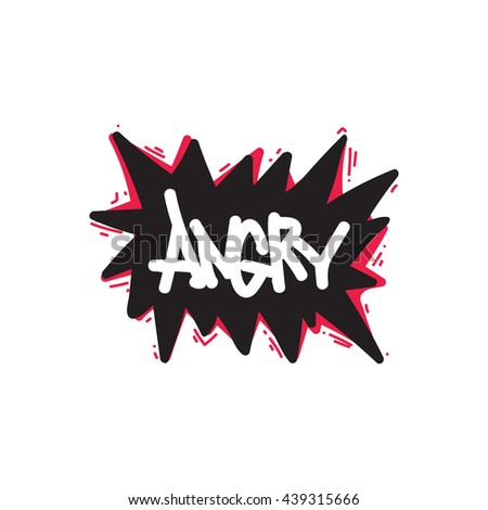 Abstract Creative concept vector design layout with text angry. For web, mobile icon isolated on white background, elements, logos, identity, labels, badge, card, t-shirts, poster