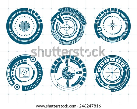 Abstract creative concept vector futuristic menu virtual graphic touch user interface HUD. For web, site, mobile application isolated on black background, illustration, ui design, business infographic