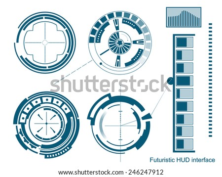 Abstract creative concept vector futuristic menu virtual graphic touch user interface HUD. For web, site, mobile application isolated on black background, illustration, ui design, business infographic - stock vector