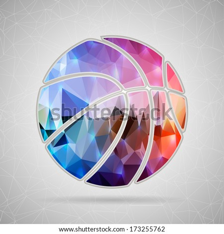 Abstract Creative concept vector icon of basket ball for Web and Mobile Applications isolated on background. Vector illustration template design, Business infographic and social media, origami icons. - stock vector