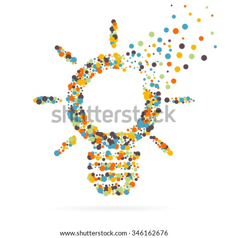 Abstract creative concept vector icon of bulb for Web and Mobile Applications isolated on background. Art illustration template design, Business infographic and social media, origami icons.  - stock vector
