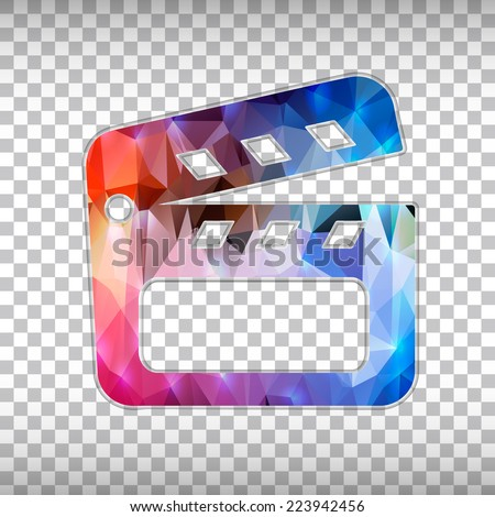 Abstract Creative concept vector icon of clapboard for Web and Mobile Applications isolated on background. Vector illustration template design, Business infographic and social media, origami icons. - stock vector