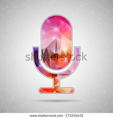 Abstract Creative concept vector icon of microphone for Web and Mobile Applications isolated on background. Vector illustration template design, Business infographic and social media, origami icons. - stock vector