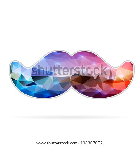 Abstract Creative concept vector icon of mustache for Web and Mobile Applications isolated on background. Vector illustration template design, Business infographic and social media, origami icons. - stock vector