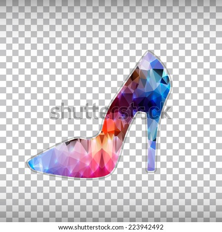 Abstract Creative concept vector icon of right shoe for Web and Mobile Applications isolated on background. Vector illustration template design, Business infographic and social media, origami icons. - stock vector
