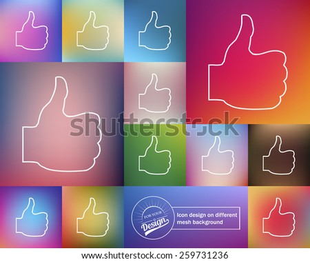Abstract Creative concept vector icon of thumbs up for Web and Mobile Applications isolated on background. Art illustration template design, Business infographic and social media, origami icons. - stock vector