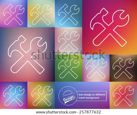 Abstract Creative concept vector icon of tools for Web and Mobile Applications isolated on background. Art illustration template design, Business infographic and social media, origami icons.  - stock vector