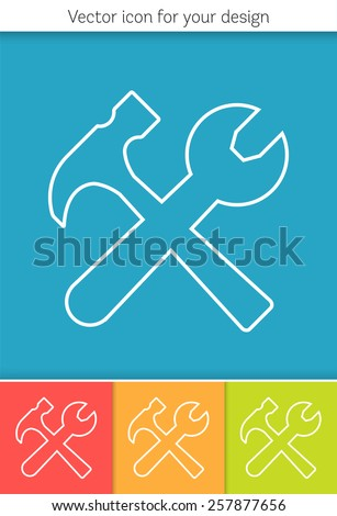 Abstract Creative concept vector icon of tools for Web and Mobile Applications isolated on background. Vector illustration template design, Business infographic and social media, origami icons.  - stock vector