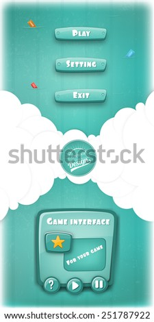 Abstract Creative concept vector Interface game design (resource bar and resource icons for games). Funny cartoon design ui game control panel including text and buttons such as exit, play, settings. - stock vector
